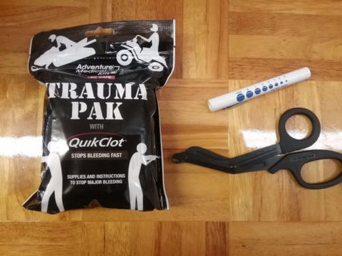 AMK Trauma Pak with QuikClot and Pocket Pen Light and EMT Shears - First Aid EMS