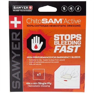 Sawyer 100% ChitoSAM Active 4x4in Single Ply Hemostatic Dressing SP935