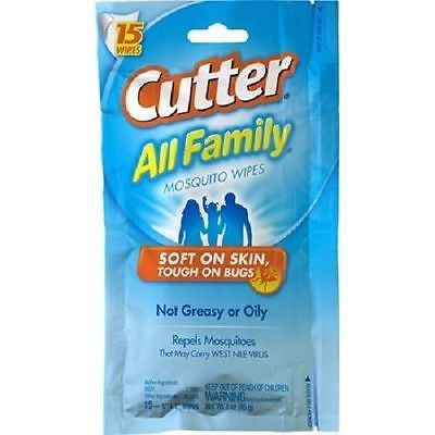 Cutter All Family Mosquito Wipes Tick Chigger Flies Fleas Bug Repellent 95838