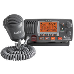 Cobra MR F77B GPS 25 Watt Class D Fixed Mount VHF Radio-Grey