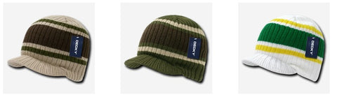 Woven Striped College Campus Jeep Hat Cap w/Visor Decky 620