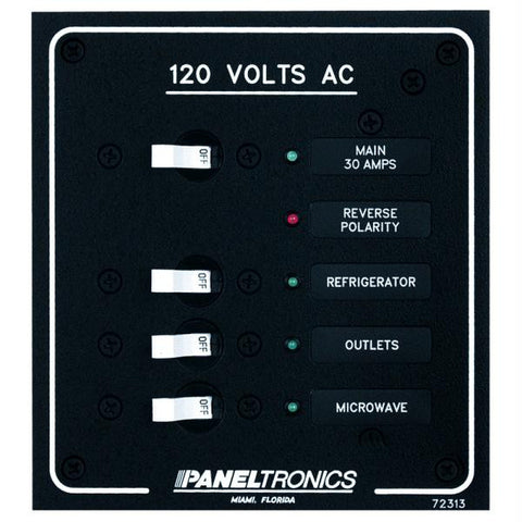 Paneltronics Standard AC 3 Position Breaker Panel & Main w-LEDs