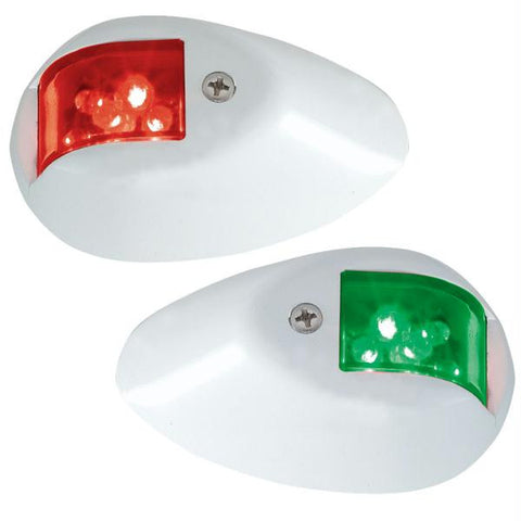 Perko LED Side Lights - Red-Green - 24V - White Epoxy Coated Housing