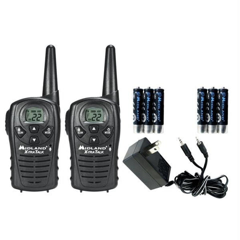Midland LXT118VP 22 Channel GMRS Radios w-Rechargeable AAA Batteries & AC Adapter - Black