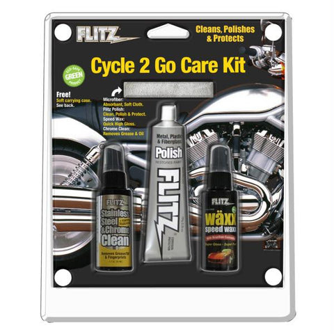 Flitz Cycle 2 Go Care Kit w-Polish, Speed Waxx®, Chrome Clean & Microfiber Cloth