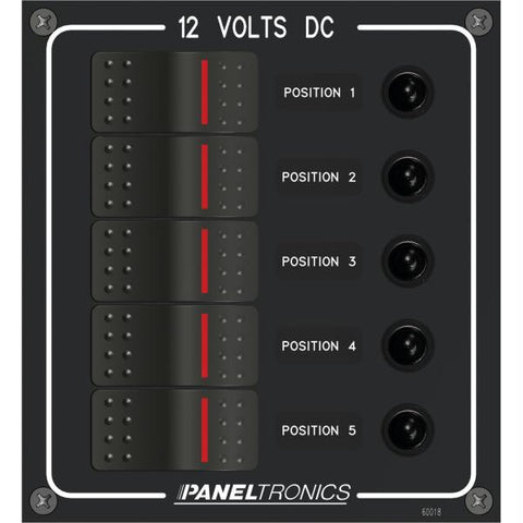 Paneltronics Waterproof Panel - DC 5-Position Illuminated Rocker Switch & Circuit Breaker