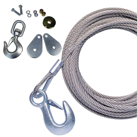 "Powerwinch 50' x 7-32"" Stainless Steel Universal Premium Replacement Galvanized Cable w-Hook & Swivel Pulley Block"