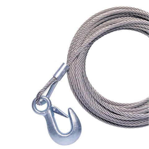 "Powerwinch 20' x 7-32"" Replacement Galvanized Cable w-Hook f-215, 315 & T1650"