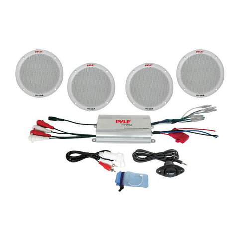 "Pyle 4-Channel Waterproof MP3-iPod Amplified 6.5"" Marine Speaker System - White"