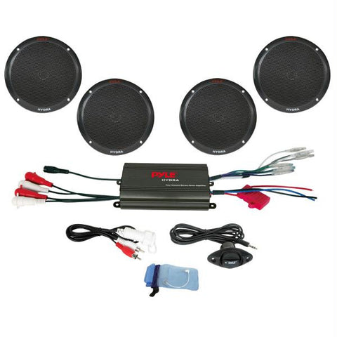 "Pyle 4-Channel 800W Waterproof Micro Marine Amplifier & 6.5"" Speaker System - Black"