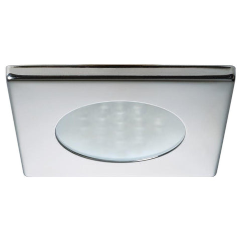 Quick Bryan C Downlight LED -  2W, IP40, Spring Mounted w-Switch - Square Stainless Bezel, Round Warm White Light