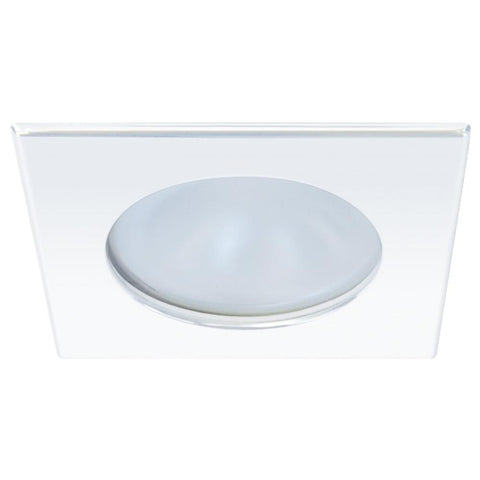 Quick Blake XP Downlight LED -  4W, IP66, Spring Mounted - Square White Bezel, Round Warm White Light
