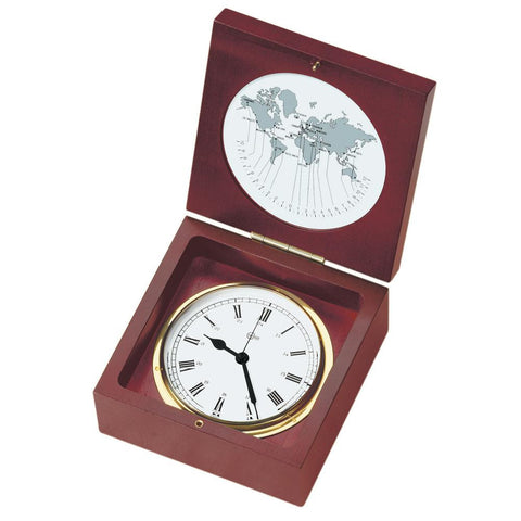 "BARIGO Quartz Ship Clock in a Box - Brass & Mahogany - 4"" Dial"
