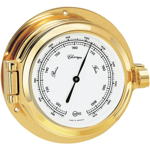 "BARIGO Poseidon Series Porthole Ship's Barometer - Brass Housing - 3.3"" Dial"