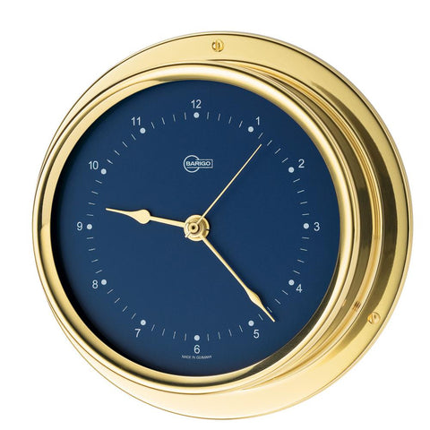 "BARIGO Regatta Series Quartz Ship's Clock - Brass Housing - Blue 4"" Dial"