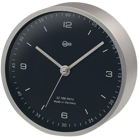 "BARIGO Pentable Series Quartz Clock - Wall Plated Nickel Housing - 4"" Black Dial"