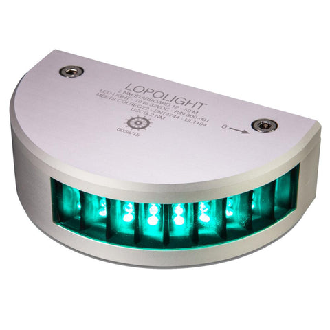 Lopolight Starboard SideLight - 2nm f-Vessels 39'(12M) to 164'(50M) - Vertical Mounting - Green