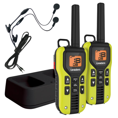 Uniden 40 Mile FRS-GMRS Two-Way Radio w-Li-Ion Charger & Headsets - 2-Pack