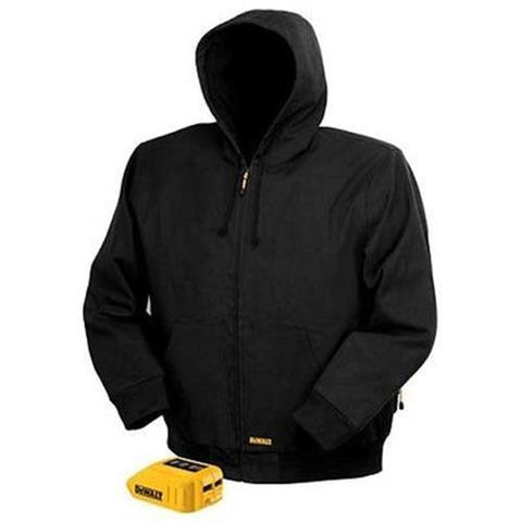 DEWALT DCHJ061 Heated Black Hooded Work Jacket Construction Outdoor Cold Weather