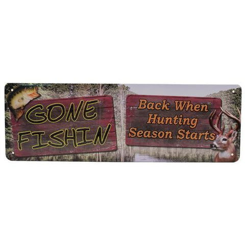 "10.5"" x 3.5"" Tin Sign - Gone Fishin"