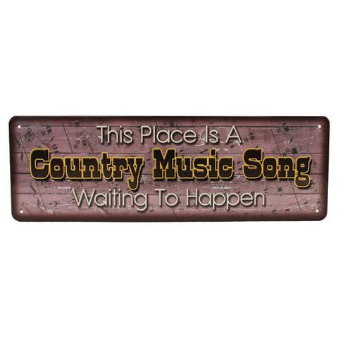 "10.5"" x 3.5"" Tin Sign - Country Music Song"