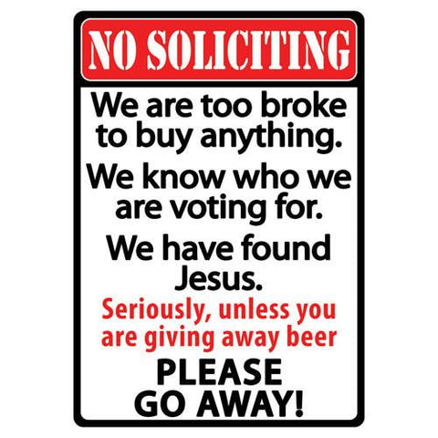 "12"" x 17"" Tin Sign - No Soliciting"