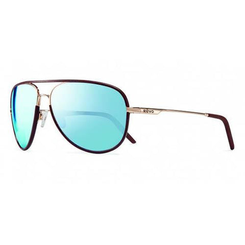 Carlisle Sunglasses - Gold Frame, Blue Water Crystal Lens