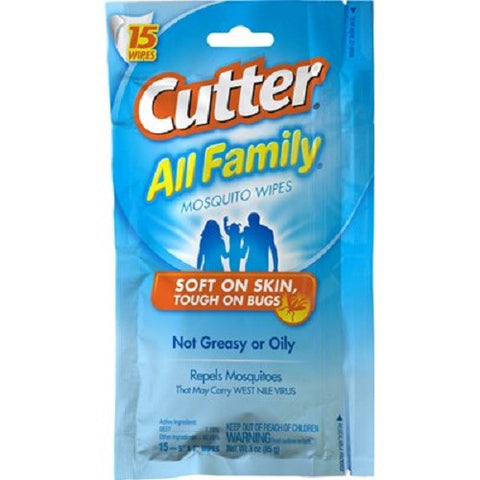 Cutter All Family Mosquito Tick Chigger Bug Wipes Repellent 95838