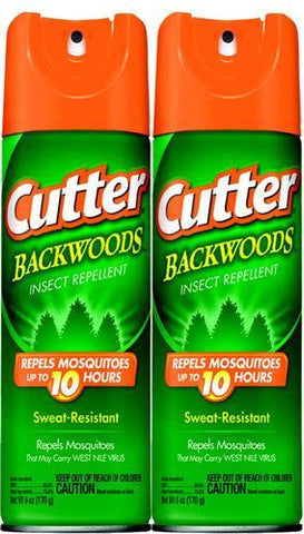2 Pack Cutter Backwoods Insect Mosquito Bug 25% DEET Repellent 6 oz Spray 96282