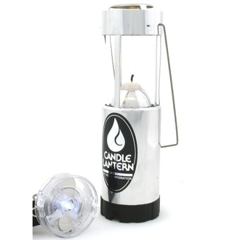 Candle Lantern plus LED Light Aluminum