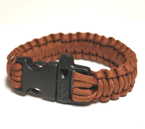 Survival Bracelet w-Whistle - Brown