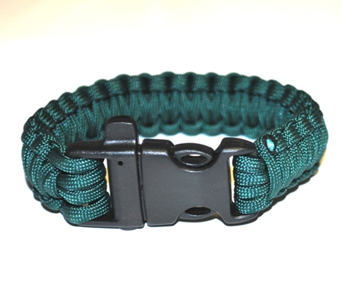 Survival Bracelet w-Whistle - Blue-Green