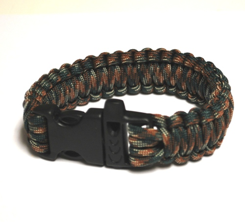 Survival Bracelet w-Whistle - Dark Grn C