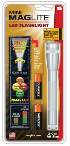 Maglite 2 AA Silver LED w- Nylon Sheath