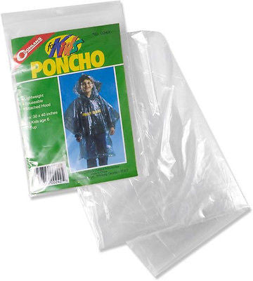 Coghlans 0242 Lightweight Poncho Rain Coat with Hood Clear FOR KIDS!