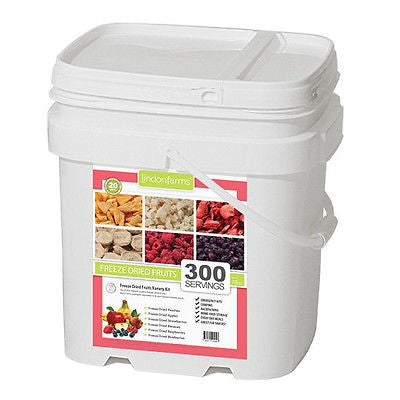 Lindon Farms 300 Serving Dried Fruits Bucket- Strawberries Peaches Bananas Etc.