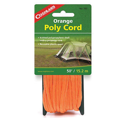 Coghlans 707- Braided Polypropylene Cord/Orange Poly Rope 50 Feet