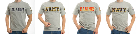100% Cotton T-Shirts Military Army Navy Marine Air Force Tees Rapdom R17