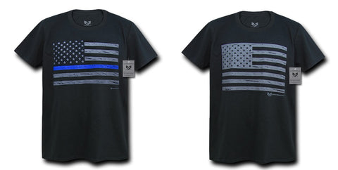 100% Cotton T-Shirts Thin Blue Line TBL Police USA Flag Tees Rapdom S03