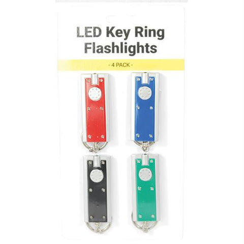 4 pack LED Portable Key Ring Flashlight.