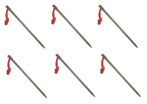 6 Pack- Vargo Titanium Nail Tent Pegs With Cord 160mm