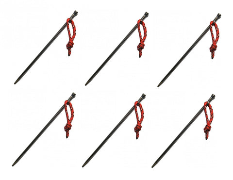 6 Pack- Vargo Titanium Nail Stakes With Cord- Ultralight