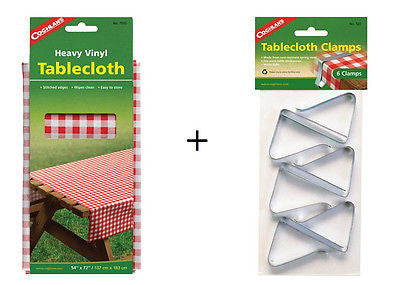 "Coghlans Picnic Tablecloth 54"" x 72"" + 6 Clamps- Camping Cooking Lunch Barbecues"