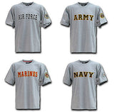 Tee Shirts- Military Clothing Logo and Text- Army, Navy, Air Force, or Marines