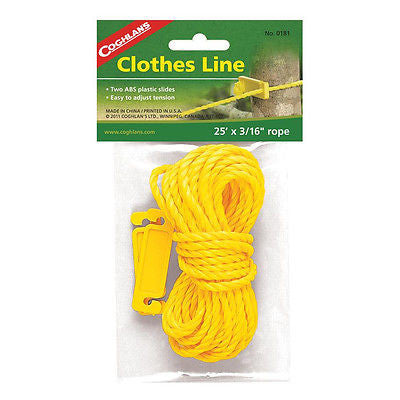 Coghlans 0181 Clothesline Polypropylene Cord Poly Rope 25 ft w/ABS Rope Slides