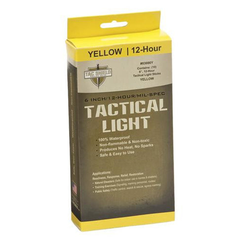 "6"" 12 Hour Light Stick, Yellow, 10 Pack"