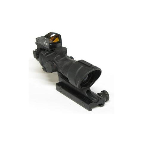 ACOG 4x32, Ctr Ill Amber Crosshair .223 Ballistic Reticle, TA51 Mount, Backup Iron Sights-Dust Cover