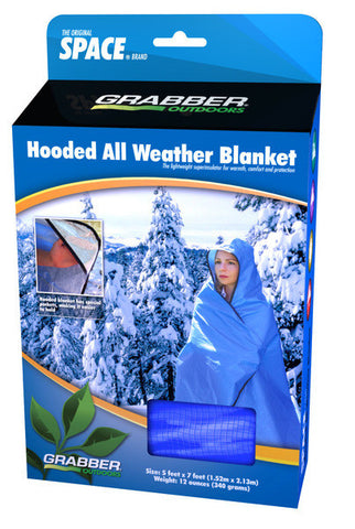 Grabber Space Hooded All Weather Emergency Survival Blanket Poncho