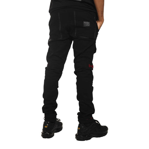 8 & 9 Clothing Strapped Up Slim Utility Pants Black Camo