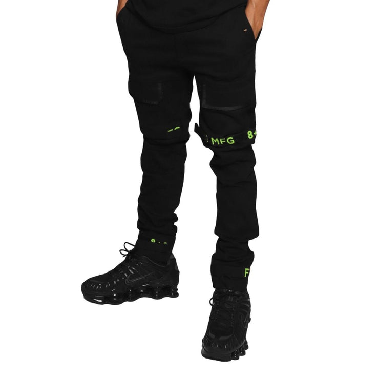 8 & 9 Clothing Strapped Up Slim Utility Pants (Volt Green/Black)